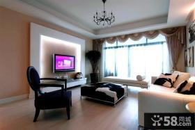 现代创意风格三室两厅客厅电视背景墙效果图