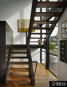 现代别墅实木楼梯图片