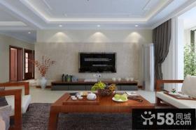 中式现代客厅电视背景墙装修效果图