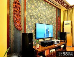 新中式电视背景墙壁纸贴图