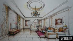 别墅手绘客厅沙发电视背景墙图片