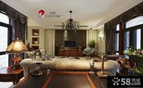 美式别墅客厅电视背景墙装修效果图大全