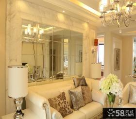 简欧客厅玻璃沙发背景墙效果图