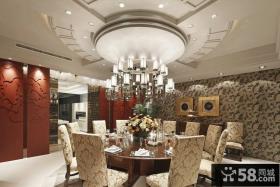别墅图片大全 美式奢华的餐厅吊顶效果图