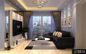 现代客厅电视墙隔断装修效果图