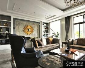 新古典风格客厅连体吊顶效果图
