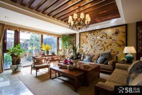 新中式度假别墅客厅装修图片大全