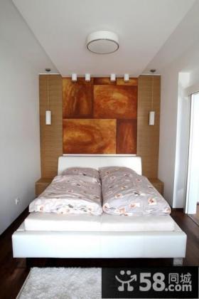 简约二居卧室床头背景墙装修效果图片