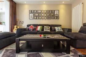 现代美式风格沙发背景墙效果图