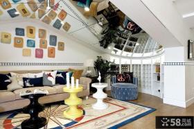 豪华蓝白地中海复式家装效果图