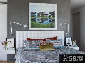 13万打造清新纯白现代风格卧室背景墙装修效果图大全2012图片