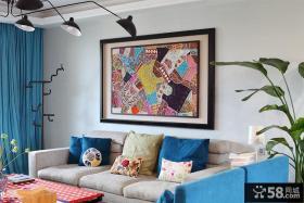 混搭风格室内客厅沙发背景墙抽象装饰画图片