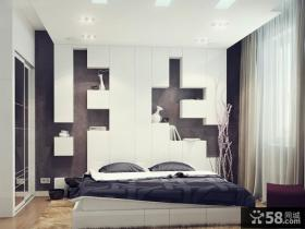 现代简约主卧装修效果图大全2012图片 简约卧室床头收纳设计图片