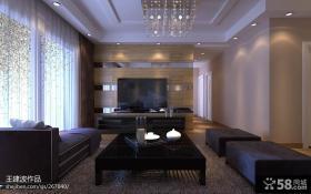 现代简约客厅电视背景墙家装设计效果图