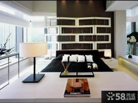 现代简约主卧室床头背景墙装修效果图