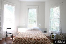 简欧风格卧室半透明窗帘装修效果图