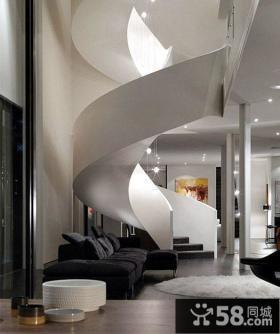 别墅客厅旋转楼梯效果图
