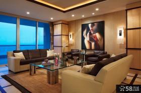 现代简约风格别墅客厅沙发背景墙装修效果图