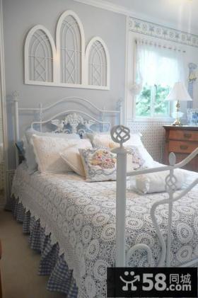 欧式卧室装修效果图大全2014图片 卧室床头半圆形造型背景墙装饰图片