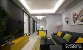 现代简约两室一厅家装设计效果图片