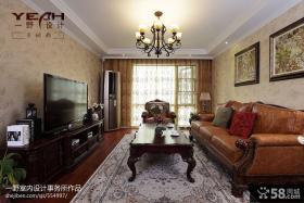 美式风格客厅壁纸电视背景墙效果图