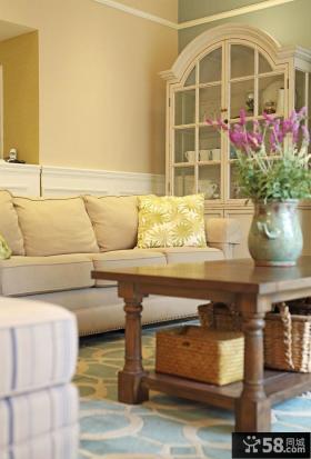 美式风格客厅实木茶几图片