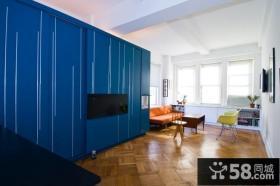 蓝色大柜子简约风格客厅装修效果图大全2012图片