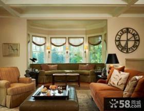 美式设计室内客厅飘窗效果图