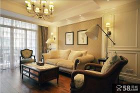 美式风格客厅沙发背景墙装饰画效果图