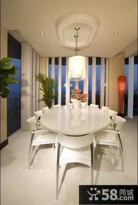现代简约欧式风格餐厅吊顶设计图片