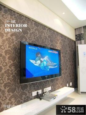 现代风格客厅壁纸电视机背景墙效果图大全2013图片