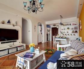 地中海风格客厅电视背景墙图片