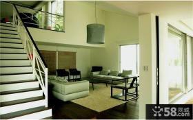白色调复式客厅装修效果图大全2014图片