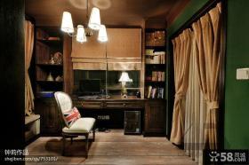 美式风格书房吊顶窗帘效果图