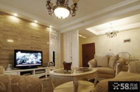 客厅背景墙装修2012 简单大理石电视背景墙