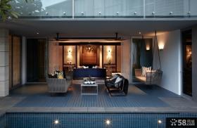 现代中式风格开放式阳台休闲区设计效果图欣赏