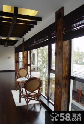 现代中式风格豪华别墅阳台设计