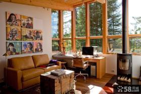 密林中的现代风格别墅卧室飘窗装修效果图大全2014图片