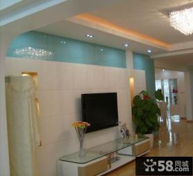 简约瓷砖电视背景墙