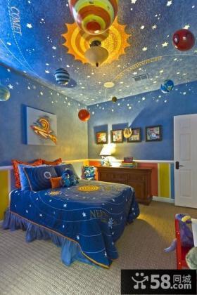 儿童房蓝色卧室太空墙绘吊顶装修图片