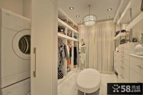 白色时尚家庭衣帽间装潢大全