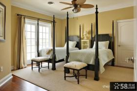 美式经典别墅卧室装修效果图