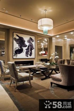 美式风格客厅壁画吊顶装修效果图