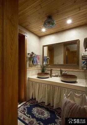 美式乡村卫生间实木装修设计图片