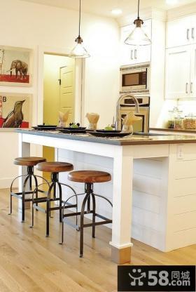 简欧风格厨房岛台设计效果图