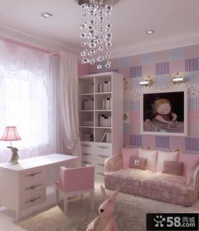 简约小户型可爱女孩儿童房书房卧室装修设计效果图
