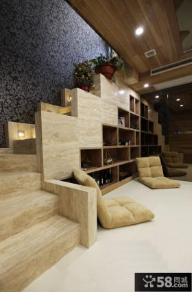 别墅室内实木楼梯装修设计效果图