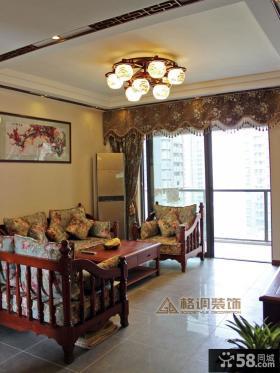 中式客厅家居吊顶设计效果图