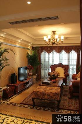 欧式古典风格二居客厅装修图片