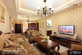 2013美式客厅电视背景墙壁纸效果图
